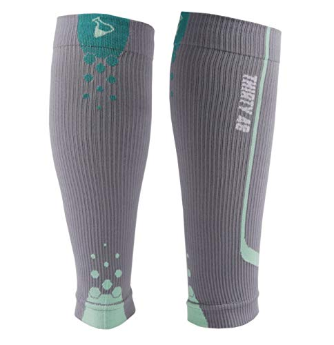 "Thirty48 – ""The Sock Geeks"", Cp Series Calf/Shin Splint Guard Graduated Compression Sleeves-Sock; 1 Pair,Gray/Green ,Small"