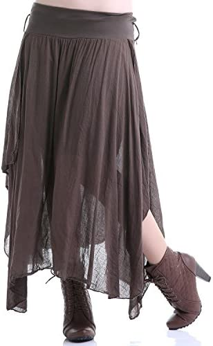 Crazyinlove Mujer Falda Larga marrón Negro Large: Amazon.es: Ropa ...