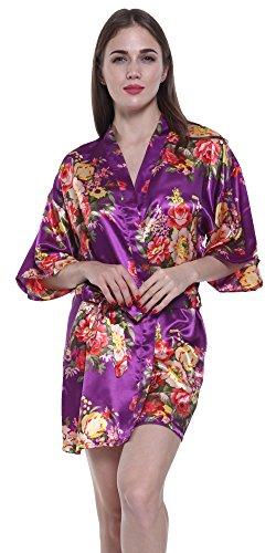 Bathrobe Costume Women (JOYTTON Women's Satin Floral Kimono Bathrobe Wedding Bridesmaid Robe (M,Purple))