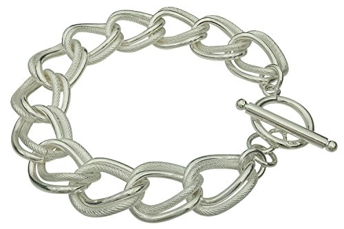 Double Curb Bracelet - Fegaga Sterling Silver Double Circle Chain Toggle Bracelet for Women