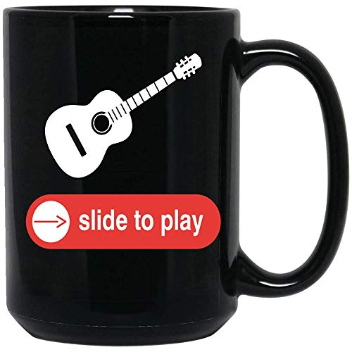 Coffee Mug Slide To Play Guitar Coffee Mug Funny Guitarists Coffee Mug Gifts Ceramic (Black, 15 OZ)