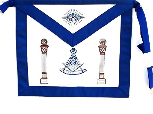 D3750 Apron Masonic Past Master with Columns & Square by DEAN & ASSOCIATES
