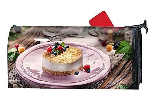 MALBX Garden Bright Cheesecake Philadelphia Cheese Mascarpone Souffle Berries Blueberries Raspberries Mint Magnetic Mailbox Wrap for Standard - Mint Cheesecake