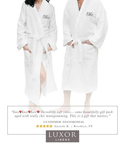 (Luxor Linens Couple's Terry Cloth Bathrobe Set-100% Egyptian Cotton-Unisex/One Size Fits Most-Luxurious, Soft, Plush, Elegant Script Embroidery His & Hers with Gift Packaging )
