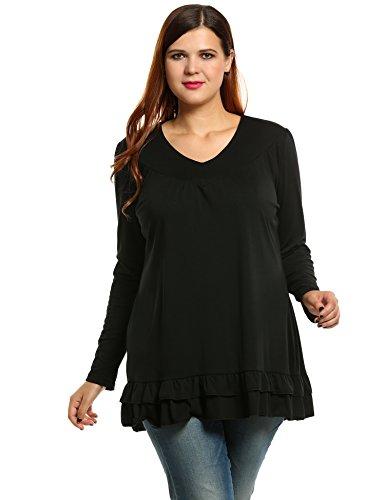 Meaneor Women Plus Size Long Sleeve V Neck Pleated Tunics (Tunic Sweater Long Sleeve)