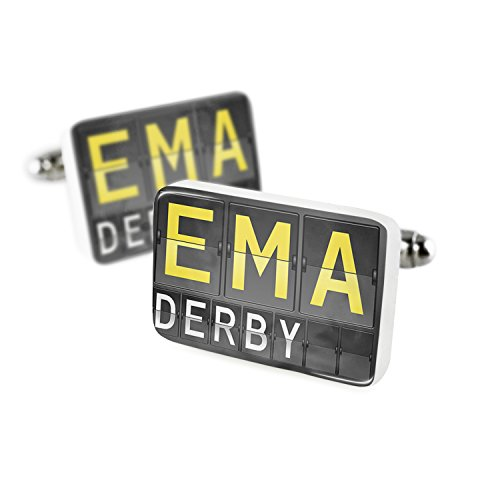 Derby Porcelain (Cufflinks EMA Airport Code for Derby Porcelain Ceramic NEONBLOND)