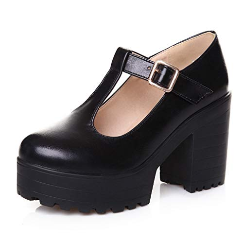 Women's Classic T-Strap Platform High-Heel Round Toe Oxfords Comfort Dress Shoes Black