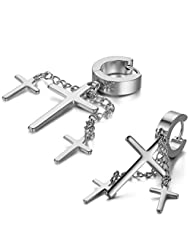JewelryWe 2pcs Punk Rock Fashion Stainless Steel Hinged Hoop Huggie Stud Earrings Crosses Dangle Silver (with Gift Bag) Christmas Valentine's Day Gift Deal
