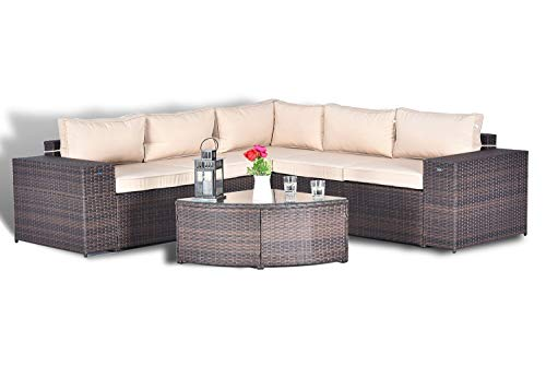 Gotland 6pcs Fade Brown Outdoor Rattan Sectional Sofa Wide Armrest Patio Wicker Couch Furniture Set,with Weather Resistant Tan Cushions & Tea ()