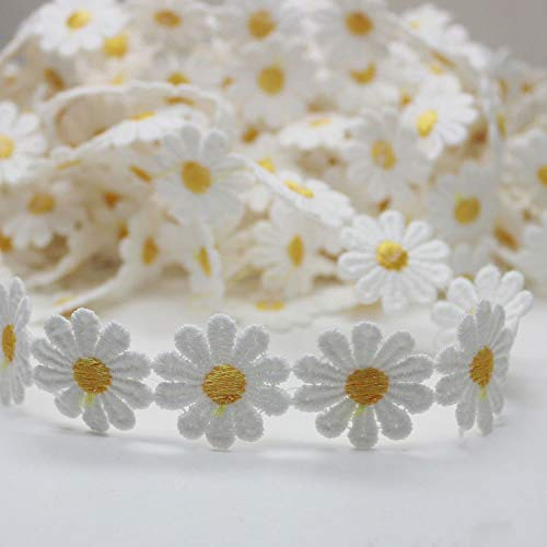 Sewing Embellishments Morning May White /& Yellow Daisy Lace Trim Ribbon Flower Applique Sewing Dressmaking Edging Trimmings 3 Yard 25mm // 0.98inch
