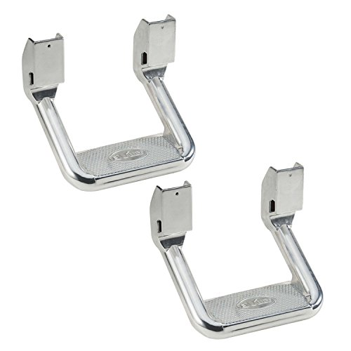 (Bully AS-600 Universal Truck Polished Aluminum Side Hoop Step Set 2 Pieces Includes Mounting Brackets - Fits Various Trucks from Chevy (Chevrolet), Ford, Toyota, GMC, Dodge RAM and Jeep )