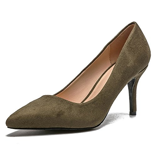 Pointed High Pumps High Elegant Heel Green Heels Shoes Women's Slip Wedding coollight Cap Formal Pump On Shoes Dress Comfortable Toe dAFcZqx