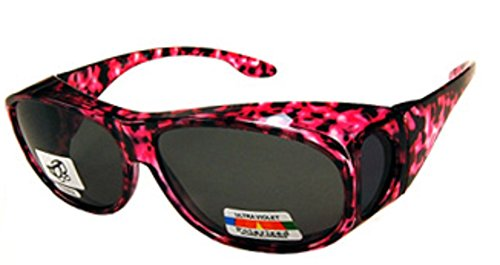 Unisex Camouflage Sun Shield Fit Over Sunglasses Polarized - Wear Over Prescription Glasses - Cover Over Glasses - Size Medium in Pink Camo (Microfiber Pouch - Regular Sunglasses Fit Over Which Glasses