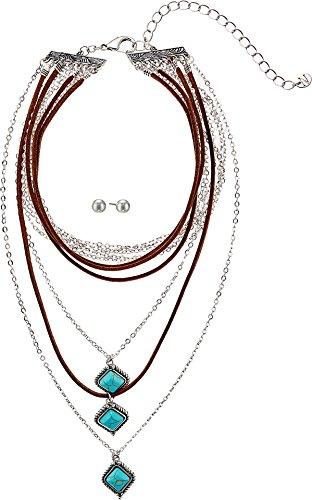 M&F Western Women's Multi-Layer Turquoise Stone Choker/Earrings Set Silver Jewelry Set