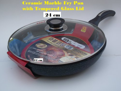 Ceramic Marble Coated Non Stick Cast Aluminium Fry Pan with Lid, 24 cm (9 inches)