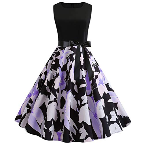 Sunhusing Women Vintage Solid Color Round Neck Sleeveless Printed Belt Strappy Elegant Swing Prom Dress Purple