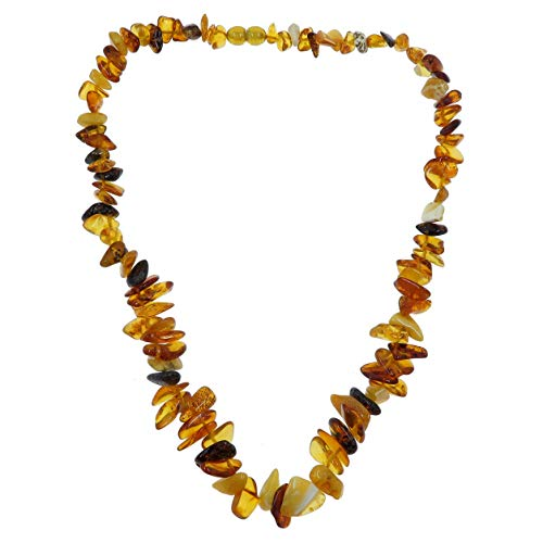 SatinCrystals Amber Necklace Boutique Autumn Yellow Orange Beaded Genuine Gemstone Baltic Stone B04 ()