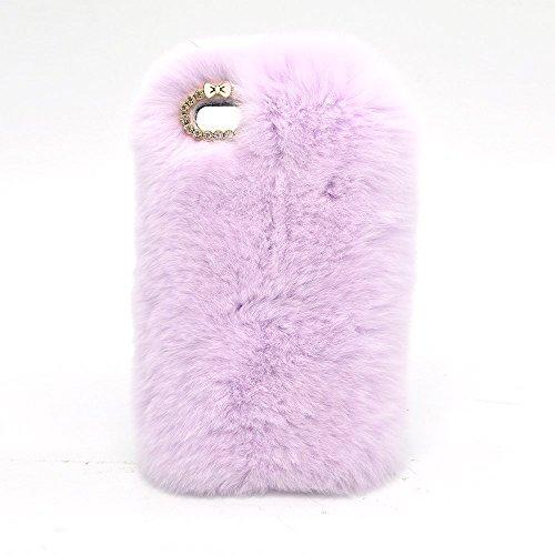 Anti-arañazos Carcasa para iPhone 6 Plus (5.5 Pulgadas), Bonice Carcasa Funda para iPhone 6S Plus (5.5 Pulgadas), Suave Cover Carcasa Case Bumpar Artificial Rex Conejo Pelaje Funda Carcasa de Gel TPU  A-Luz púrpura