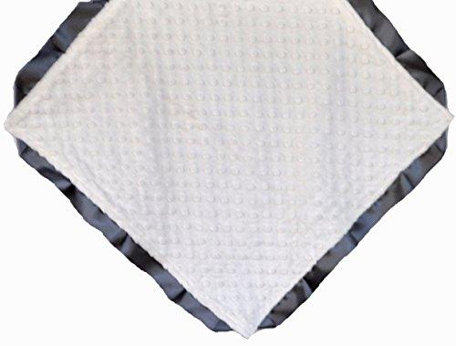 Cozy Wozy Signature Minky Lovie Sized Baby Blanket with Satin Trim Lovie, Cream/Charcoal Gray, 18