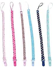 DOITOOL 6 peças de clipes de chupeta ajustáveis para bebês com prendedores de chupeta e suporte de alça