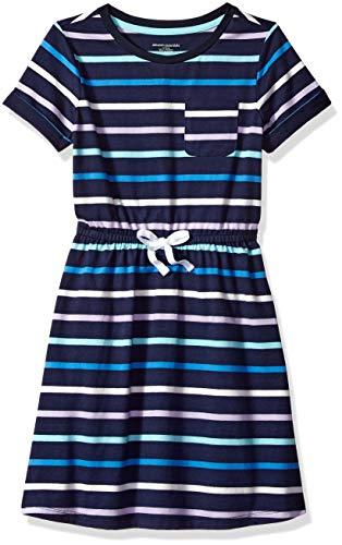 Amazon Essentials Little Girls' Short-Sleeve Elastic Waist T-Shirt Dress, Multi Stripe Navy with White Bow, M