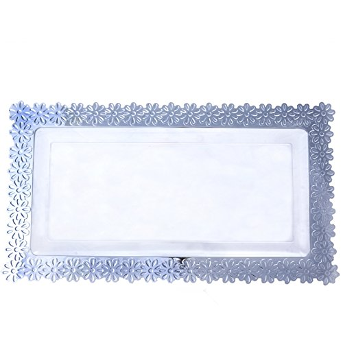 Clear W/ Silver Floral Edge 8.5 Inch X 15.5 Inch Disposable Serving Tray - Chambury Plastics