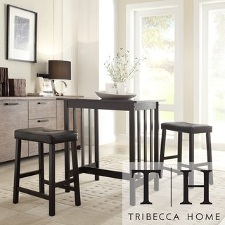 Exceptionnel Tribecca Home Nova Black 3 Piece Kitchen Counter Height Dining Set