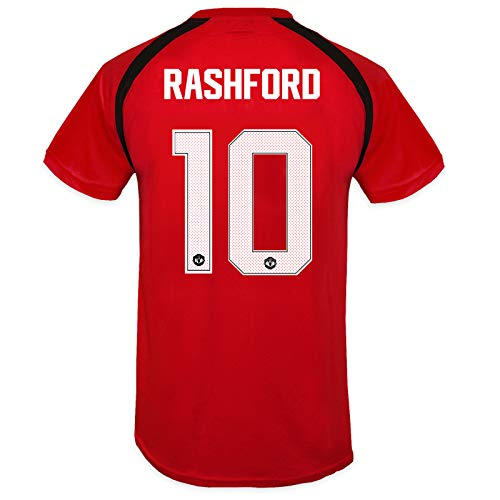 Manchester United FC Boys Rashford 10 Poly Training Kit T-Shirt Red 10-11 Yrs