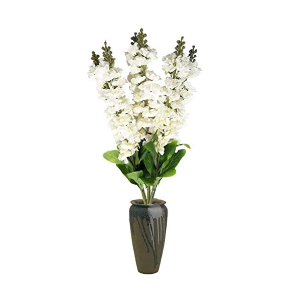 cn-Knight Artificial Flowers 6pcs 36 Inch Long Stem Silk Hyacinth Flower Snapdragon Faux Antirrhinum for Wedding Bridal Bouquet Home Decor Housewarming Centerpieces Baby Shower Reception(White)