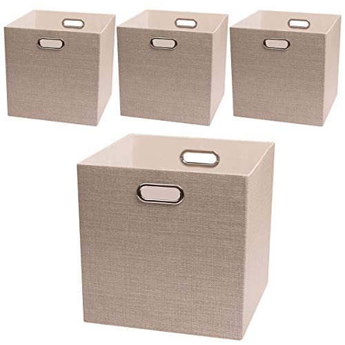 Posprica Storage Cube Basket Bins,13×13 Foldable Storage Boxes for Closet Organizer Shelf Cabinet Bookcase,Thick Fabric Drawer with Shimmer,4pcs, Beige (Drawers Garden Storage)