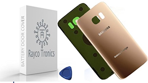 Rayco Tronics Galaxy S7 EDGE OEM Rear Back Glass with Battery Door Housing Cover + Adhesive Replacement For G935 G935F G935A G935V G935P G935T + opening tool (gold)