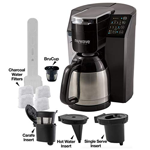 NUWAVE BRUHUB ULTIMATE 3-in-1 coffee system with 3 inserts, reusable BruCup, 3 strength settings, 4 charcoal filters…