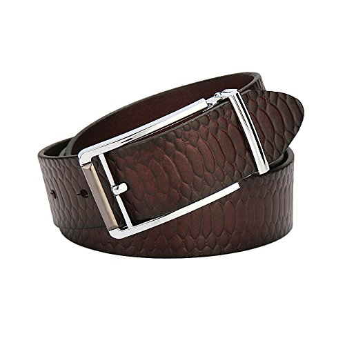 Men Belts Genuine Leather Belt Brass Buckle with Snake Grain Surface (Leather Snake Genuine Belt)
