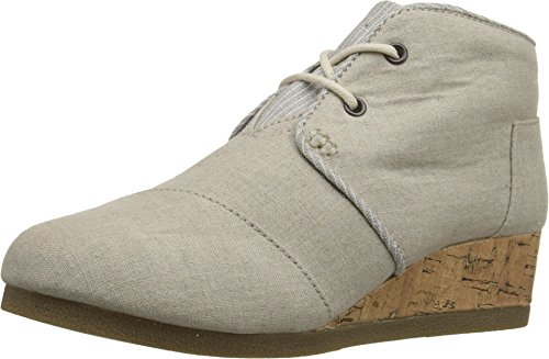 TOMS Kids Womens Desert Wedge Bootie, Natural Linen, 13 M US