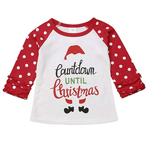 Christmas Toddler Kids Baby Girls Unicorn Print T-Shirt Long Sleeve Top Lace Sleeve Fall Clothes Set (Red & Dot, 3-4 Years) ()