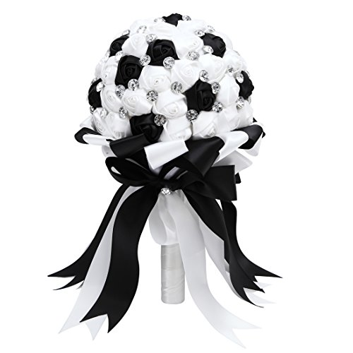FAYBOX Crystal Satin Rose Bridal Bridesmaid Bouquets Wedding Flower Decor Black White