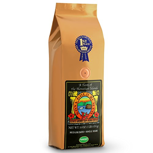 Kona Gold Coffee Whole Beans - 16 oz, by Kona Gold Rum Co. - Medium/Dark Roast Extra Fancy - 100% Kona - Blue Coffee Horse