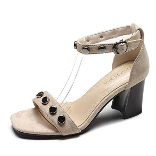 sandalias tobillo zapatos del tacón correa Mujer de la correa de alto Peep las Toe GAOLIXIA Rivet de T Beige suelas ante bombas del waRqC1qP