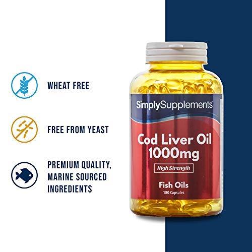 Aceite de Bacalao 1000 mg - 180 cápsulas - Hasta 6 meses de suministro - Con Omega 3 para tu salud cardiovascular - SimplySupplements: Amazon.es: Salud y ...