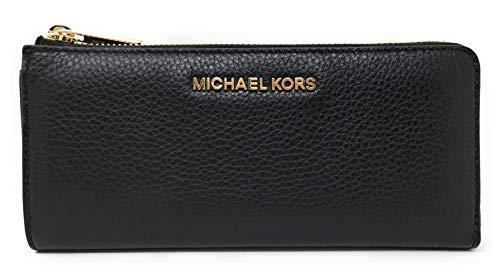 Michael Kors Jet Set Large Three Quarter Zip Around Pebbled Leather Wallet (Black)