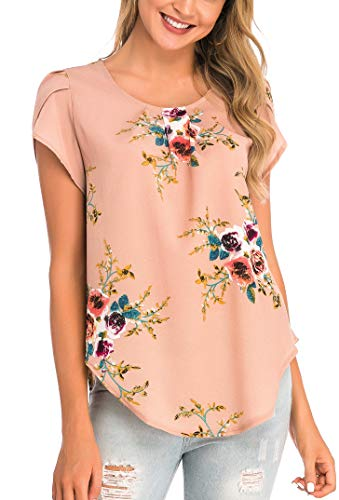Fronage Women's Summer Short Sleeve Pleated Tops Work Casual Keyhole Back Floral Shirts Blouse (Small, A1 Apricot)