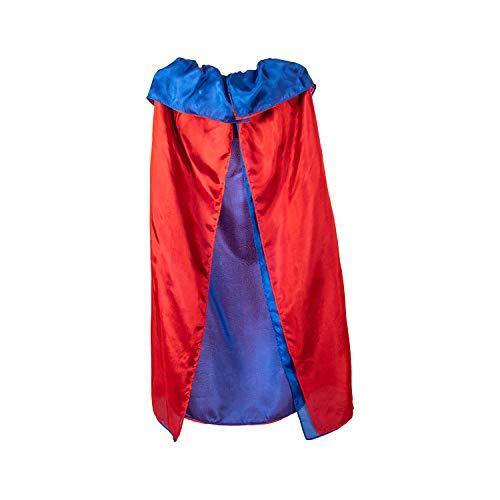 Sarahs Silks - Reversible Silk Cape, 100% Real Silk, 32-Inch Long 2 Layer Soft Silk Cloak, 7-12-Inch Wide Elastic Neck Band - Royal/Red