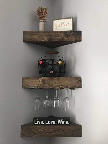 1 Wine Rack, 2 Corner Floating Shelves Set