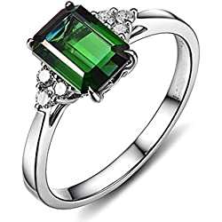 1.5 Carat Emerald and Diamond Engagement Ring in White Gold