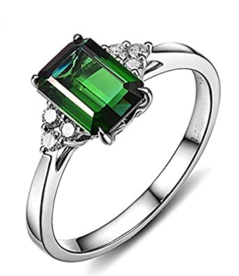 1 50 Carat Emerald And Diamond En Ement Ring In White Gold Amazon Co Uk Jewellery