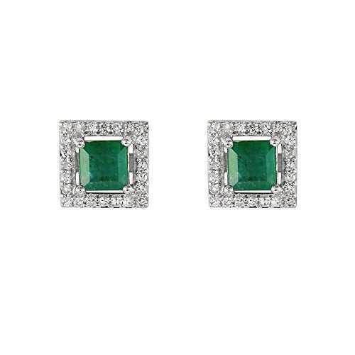 Ivy Gems femme  9carats (375/1000)  Or blanc|#Gold Carré   Vert Smaragd