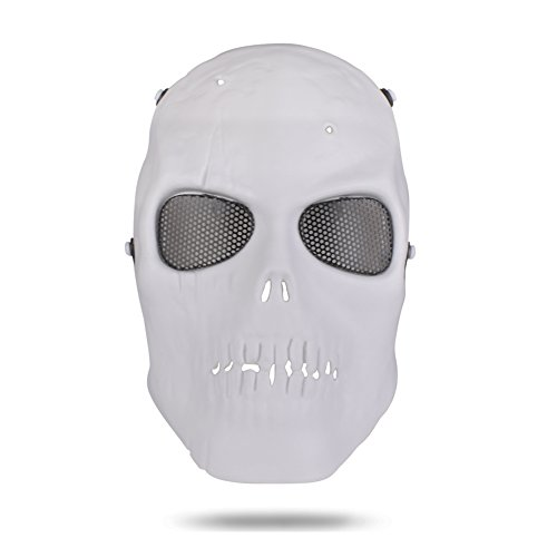 (Freehawk Skull Skeleton Full Face Tactical Airsoft Paintball Cosplay Mask with Metal Mesh Eye Protection For Airsoft/Paintball/CS/BB Gun/Survival Games/Masquerade/Halloween/Cosplay (White))