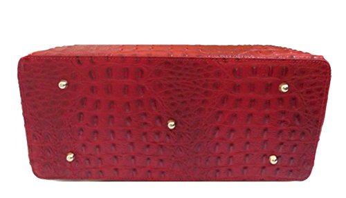 Borsa Donna in vera pelle stampata cocco colore rosso made in Italy