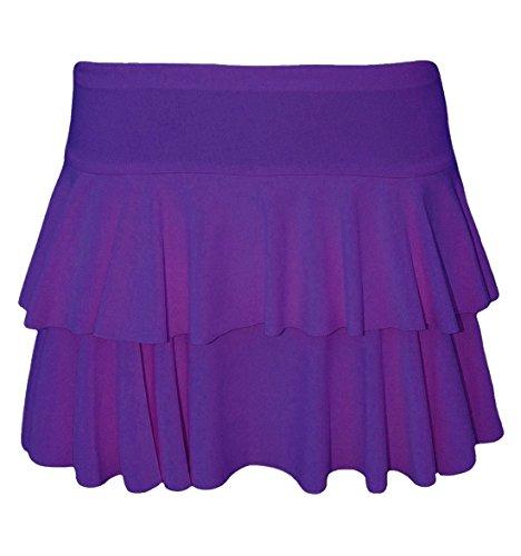Islander Fashions Damen 2 Schicht Frill RaRa Rock Damen Party Tanzabnutzung Mini Kostm Rock S/XL Purple