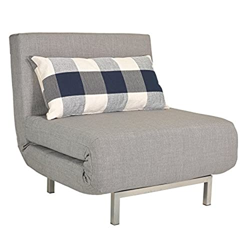 Awesome Cortesi Home Savion Convertible Accent Chair Bed, Grey